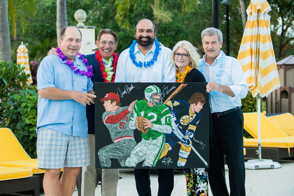 Yogi Berra, Joe Namath, Franco Harris Bobby Orr holding up the canvas