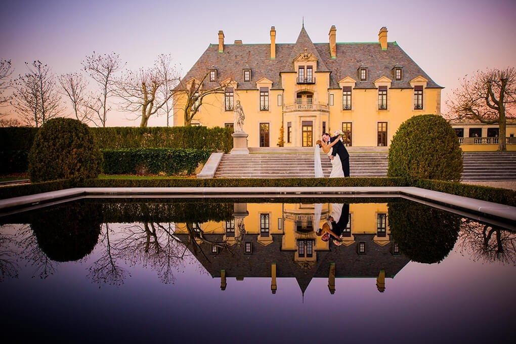 Oheka Castle wedding reflection photo