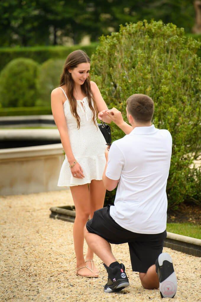 Surprise proposal putting on ring