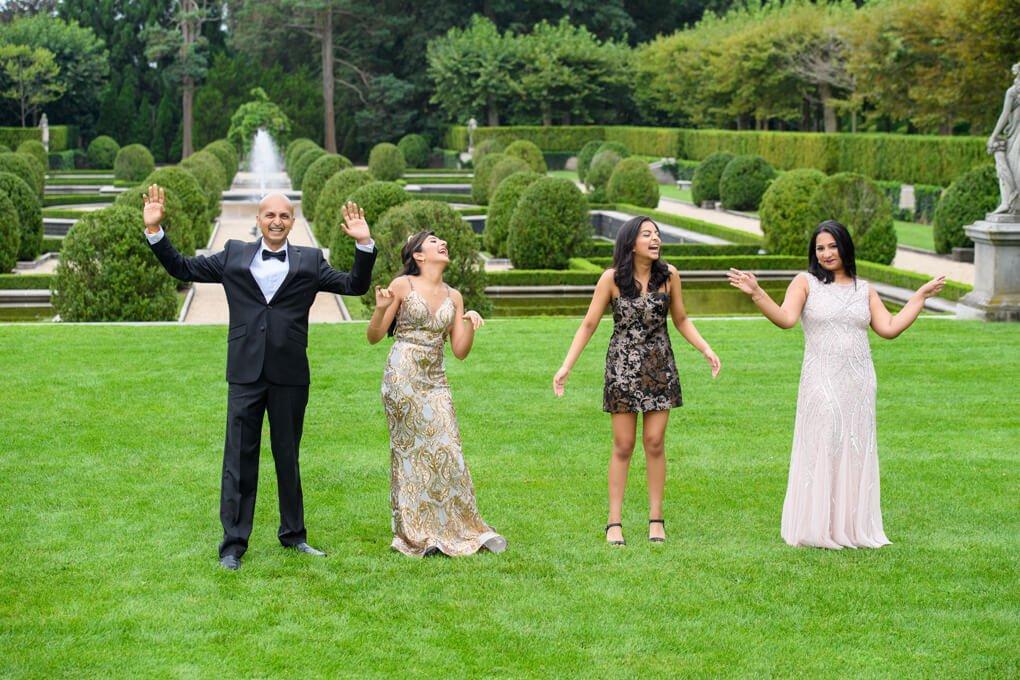 Oheka fun family portrait in gardens