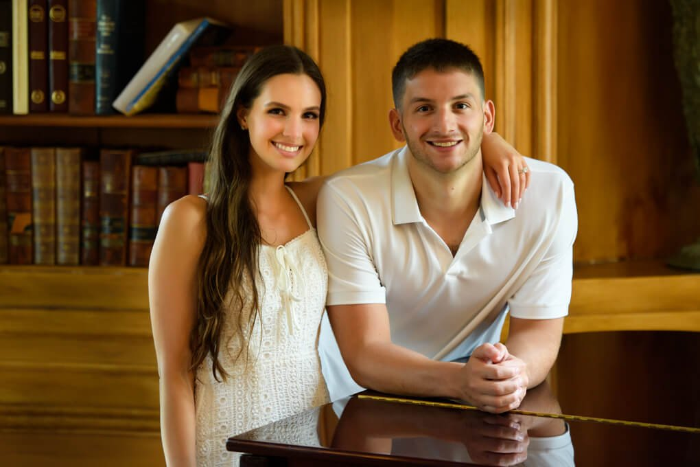 Couple at Oheka Castle library