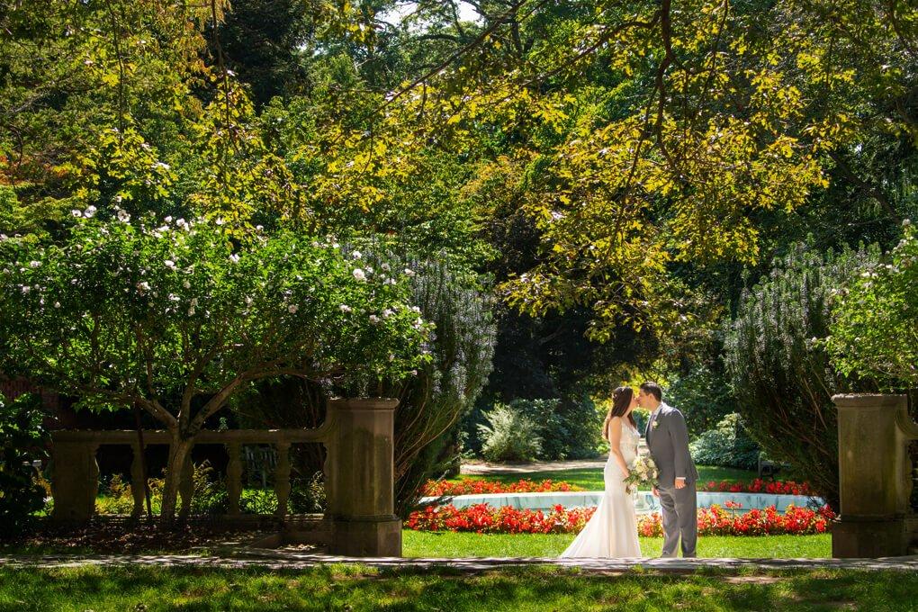 Bride and groom at planting Fields Arboretum